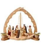 Grande crèche de Noël en bois avec arche