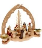 Crèche de Noël en bois grande taille avec nativité et rois mages