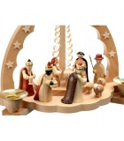 Grande creche de Noël avec bougeoirs et personnages