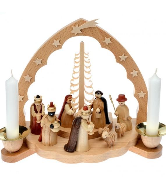 Achat creches en bois avec bougies blanches