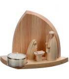Petite crèche de Noël en bois avec un bougeoir