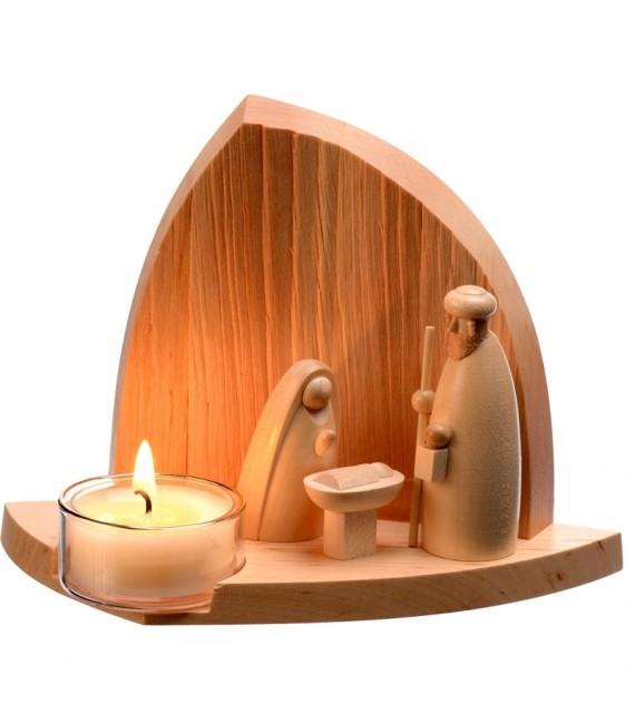 cr che de no l moderne en bois avec bougeoir photophore 11 cm creche de noel design d cos. Black Bedroom Furniture Sets. Home Design Ideas