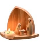 Decoration de noel, crèche en bois avec bougeoir