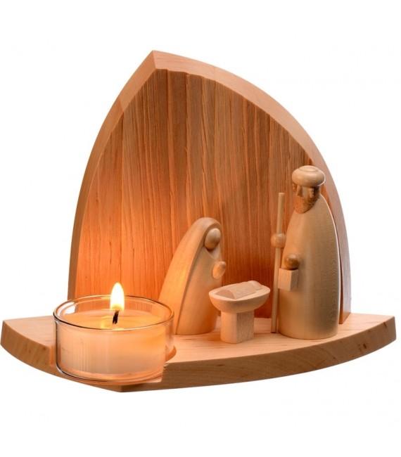 Décorations de noel en bois, crèche avec bougie