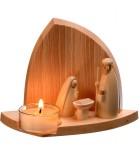 Décorations de noel en bois, crèches bougeoirs