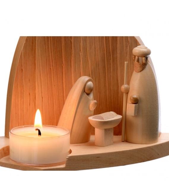 Achat petite crèche de Noël en bois photophores
