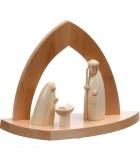 Crèche en bois en forme d'arche avec personnages