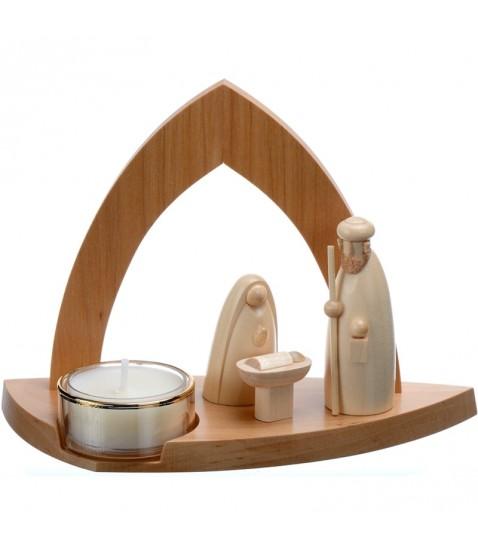 mini cr che de noel en bois creche design avec bougeoir photophore 11 cm. Black Bedroom Furniture Sets. Home Design Ideas