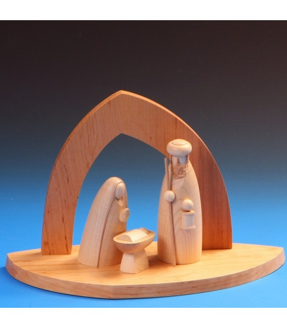 Grande creche de Noel avec personnages en bois