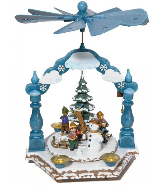 Pyramide à bougies Winterkinder enfants dans la neige