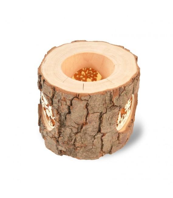 Photophore en rondin de bois motifs nature