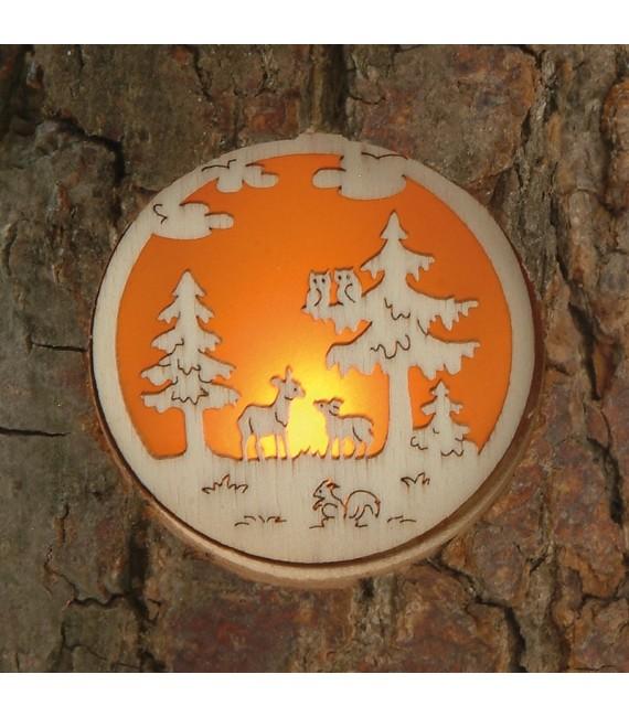 Photophore en bois motifs nature