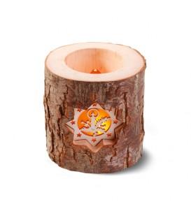 Photophore en rondin de bois, 2 motifs crèche et bougie