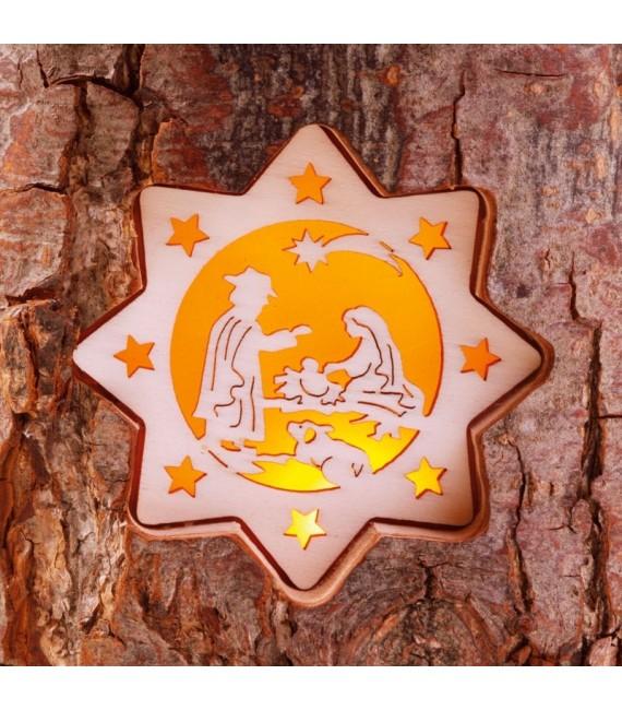 Bougeoir photophore en écorce de bois, crèche et bougie