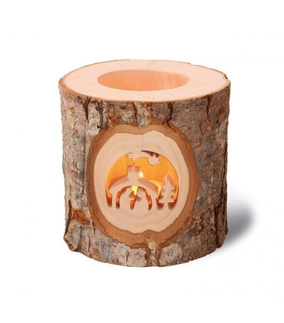 Photophore avec motif en bois ciselé, crèche de Noel et étoile filante