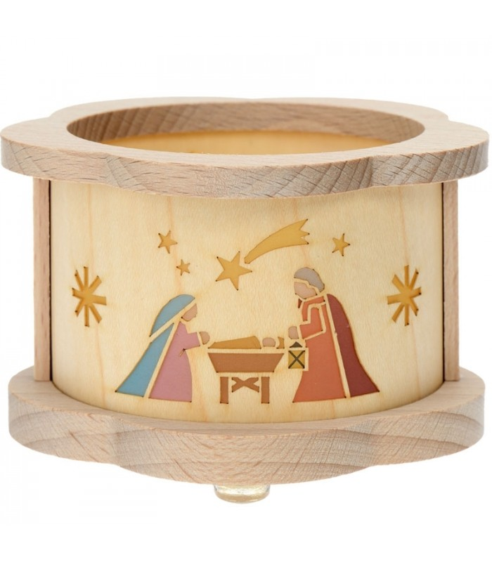 photophore no l sc ne de cr che de no l lumineuse dans un petit photophore en bois. Black Bedroom Furniture Sets. Home Design Ideas