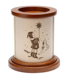 Photophore en bois fillette et étoile de Noël
