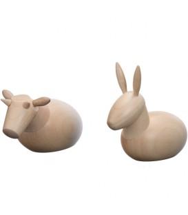 L'âne et le boeuf, animaux de la crèche de Noël, 6 cm