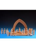 Figurines bois crèche de Noël, dromadaire et bédouin
