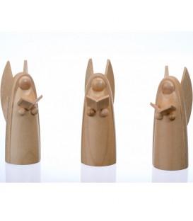 Trois anges de Noël en bois pour crèche, 6 cm