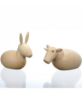 Animaux pour crèche de Noël, l'âne et le boeuf, 8 cm