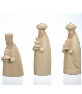 Figurines bois pour crèche de Noel, les trois rois mages, 12 cm