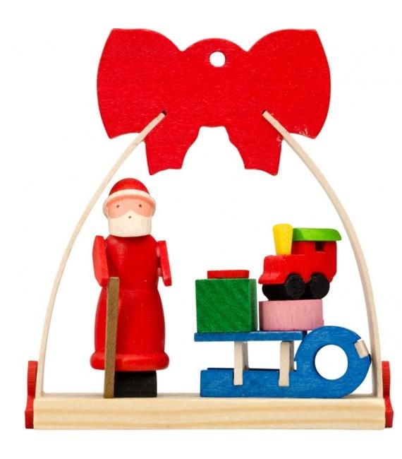 Déco Noël enfant, noeud rouge, luge et cadeaux