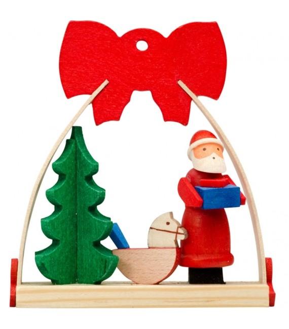 Déco Noël enfant, noeud rouge, cheval de bois