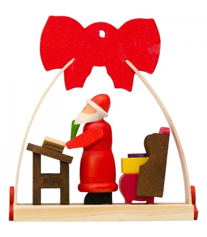 deco noel enfant suspension pour sapin de noel avec noeud rouge lettres du p re noel. Black Bedroom Furniture Sets. Home Design Ideas
