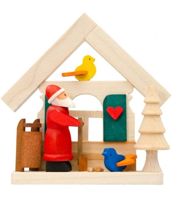 Déco sapin de Noel, père Noel et petits oiseaux