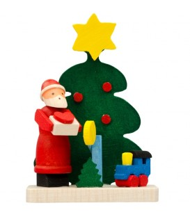 Déco sapin de Noel, père Noël et petit train en bois