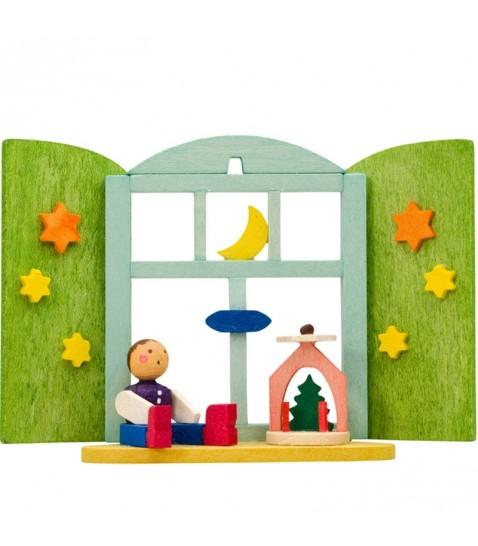 d co sapin de no l fen tre avec enfant et man ge en bois. Black Bedroom Furniture Sets. Home Design Ideas