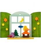 Décoration de sapin de Noël, oiseaux devant fenêtre