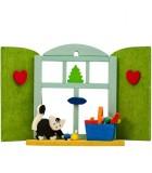 Décoration de sapin de Noël, chaton devant fenêtre