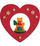 Décoration de sapin de Noël, coeur avec ourson