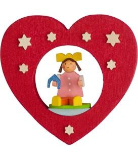 Décoration de sapin de Noël, coeur avec poupée