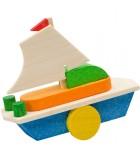 Déco Noël enfant, voilier en bois peint