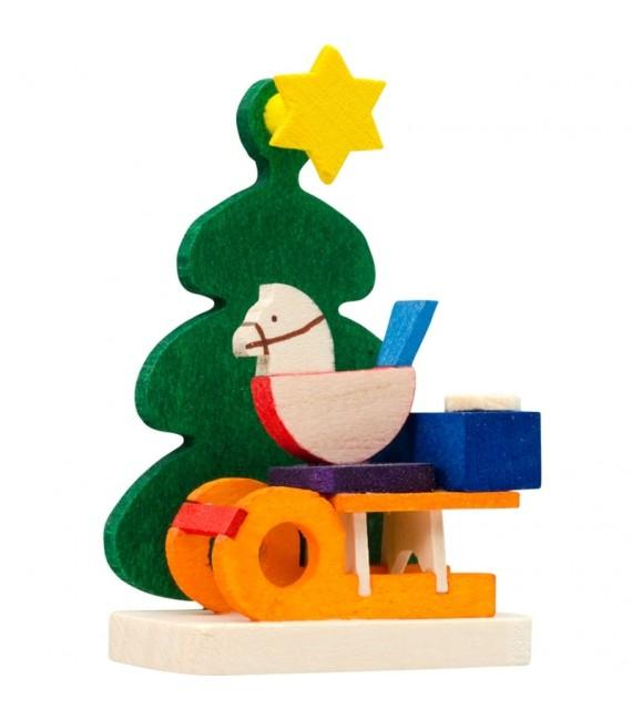Décoration de sapin de Noël, luge et cheval de bois