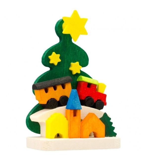 Décoration de sapin de Noël, petit train en bois