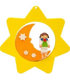 Déco sapin de Noël, étoile jaune, lune et ange n° 1