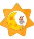 Déco sapin de Noël, étoile jaune, lune et ange n° 2