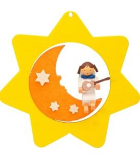 Déco sapin de Noël, étoile jaune, lune et ange n° 3