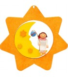 Déco sapin de Noël, étoile jaune, lune et ange n° 4