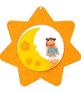 Déco sapin de Noël, étoile jaune, lune et ange n° 5