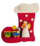 Botte père Noel, ange et petit train en bois