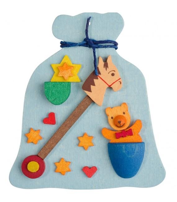 Décoration de sapin de Noel, hotte avec jouets