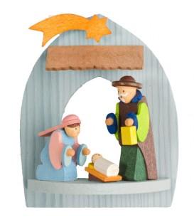 Crèche de Noël à suspendre au sapin, Marie, Joseph et Jésus