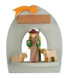 Crèche de Noël à suspendre au sapin, berger et moutons