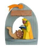 Crèche de Noël à suspendre au sapin, roi mage Gaspard