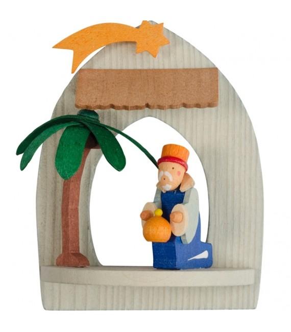 Crèche de Noël à suspendre au sapin, roi mage Melchior